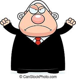juez, enojado, caricatura