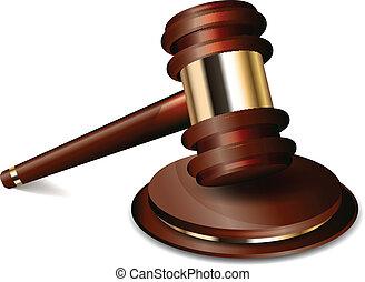juez, martillo, vector, ilustración