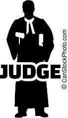 Juez Silueta con título de trabajo