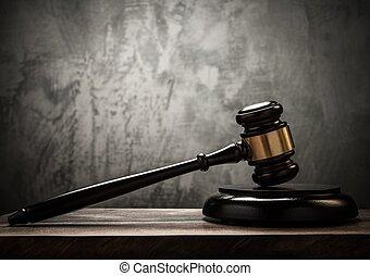 juez, tabla, martillo, de madera