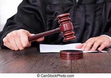 juez, tenencia, mazo