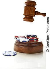 Juezes de la ley danl y fichas de póquer, en blanco