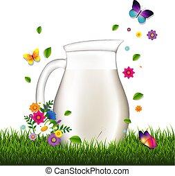Jug con leche y hierba y flores de fondo blanco