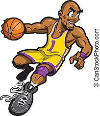 jugador, baloncesto, negro