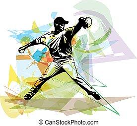 jugador, beisball, juego, ilustración