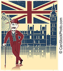 jugador de bolos, londres, textura, negro, cane., viejo, plano de fondo, sombrero, inglés, vendimia, caballero