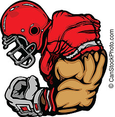 Jugador de fútbol con caricaturas de cascos