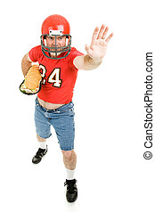 Jugador de fútbol con sándwich