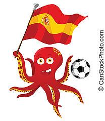 Jugador de fútbol de Pulpo con bandera de España.