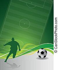Jugador de fútbol ilustrado con pelota