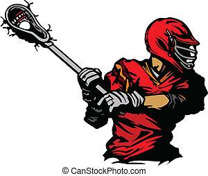 jugador del lacrosse, pelota, illus, acunar