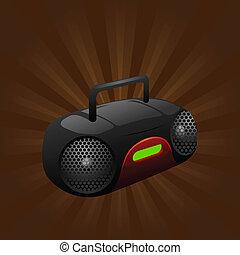 jugador, estéreo, portátil, cd