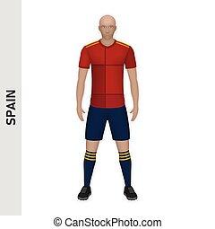 jugador, fútbol, futbol, mockup., kit, plantilla, realista, 3d, equipo