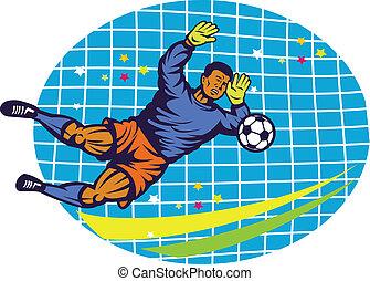 jugador, fútbol, retro, portero
