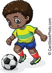 jugador, futbol, negro