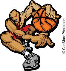 jugador, gotear, baloncesto, caricatura