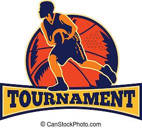 jugador, gotear, baloncesto, retro, pelota