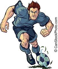 jugador, gotear, futbol, duro