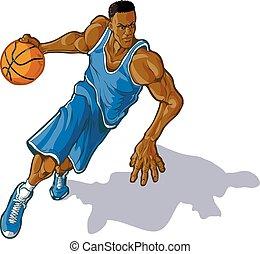 jugador, macho, gotear, baloncesto