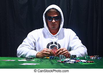 jugador, póker, fresco