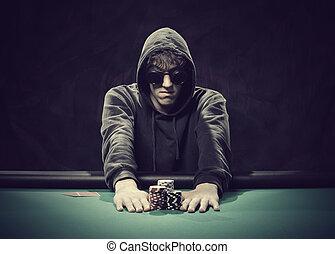 jugador, póker, yendo, all-in