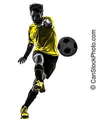 jugador, patear, silueta, hombre, brasileño, fútbol americano del fútbol, joven