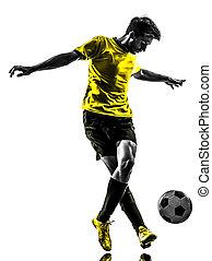 jugador, silueta, hombre, brasileño, futbol, gotear, fútbol, joven