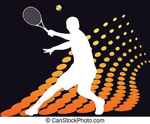 jugador, tenis, halftone, resumen