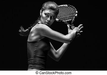 jugador, tenis, hembra