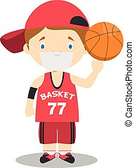 jugador, vector, contra, ilustración, guantes, quirúrgico, protección, baloncesto, látex, máscara, salud, lindo, caricatura, emergencia