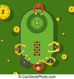 jugadores, casino, entretenimiento, juego, gente, apuestas, vista, vida nocturna, ruleta, jugadores, above., vector, illustration., tabla, colocación, club