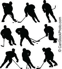 jugadores, hockey, hielo