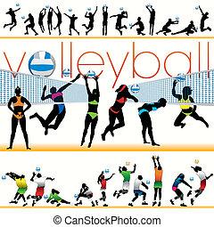 jugadores, siluetas, 30, voleibol