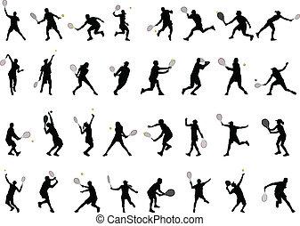 jugadores, siluetas, tenis