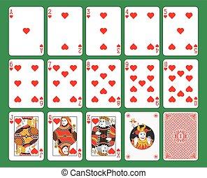 Jugando a las cartas con el traje de corazones