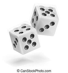 Jugando a los dados. Realista ilustración 3D de dos dados blancos con sombra. Juego de dados