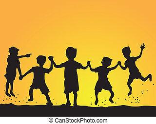 Jugando a los niños silueta