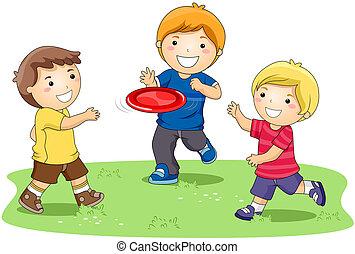 Jugando al frisbee