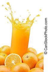 jugo de naranja, salpicar