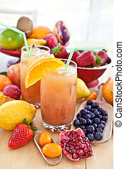 jugo, fresco, vario, fruits