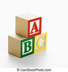 juguete, abc, blocks.