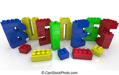 juguete bloquea, forma, empresa / negocio, -, construya, palabra, su