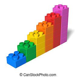 juguete bloquea, tabla de apariencia, crecer, barra