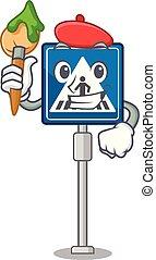 juguete, carácter, tabla, crosswalk, artista, señal