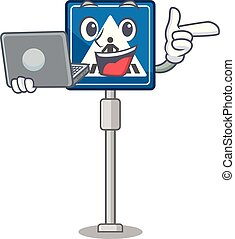 juguete, carácter, tabla, crosswalk, computador portatil, señal