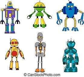 juguete, conjunto, robotes, monstruos