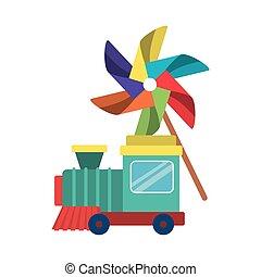 juguete, diseño, molinillo, vector, tren, aislado