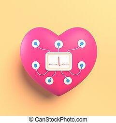 juguete, fondo., electro, sensors, 3d, amarillo, cardiogram., luz, interpretación, holter, corazón