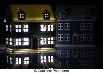 juguete, noche, luces, casa