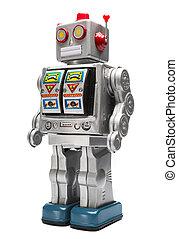 juguetee robot, estaño